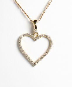 Arany szív medál 14 karátos nagy cirkónia kövekkel