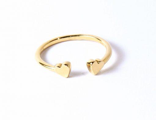 arany szíves nyitott gyűrű