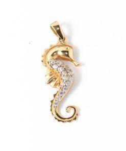 14 karátos arany csikóhal medál tengeri cirkón kövekkel
