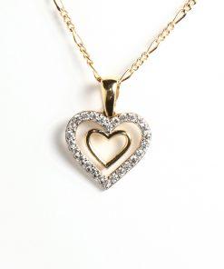 arany szív alakú medál cirkón kövekkel nyaklánchoz