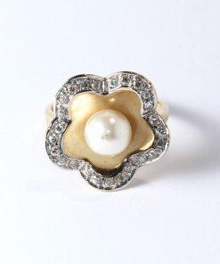 arany gyűrű cirkón köves gyönggyel