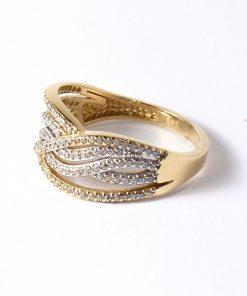 vastag arany női gyűrű cirkón kövekkel, köves