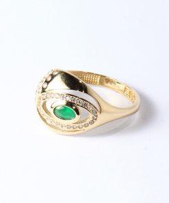 arany gyűrű cirkón zöld kővel