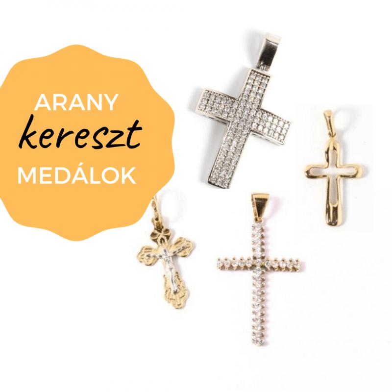 arany kereszt medálok köves vallásos keresztény