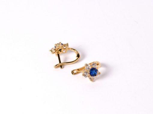 arany baba gyerek fülbevaló kék kővel