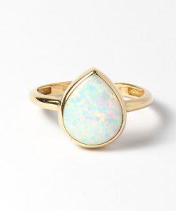 arany női gyűrű csepp alakú opál kővel