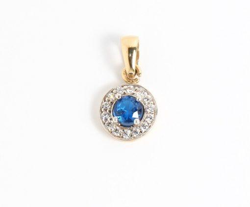 arany medál kék cirkón kővel