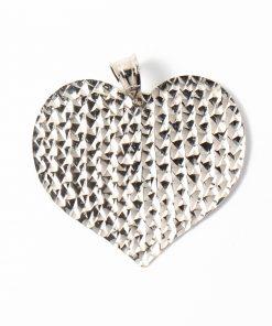 Nagy méretű fehérarany lap szív medál.