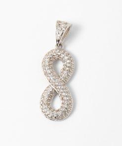 Fehérarany végtelen jel medál, 8-as alakú, cirkón kövekkel kirakva.