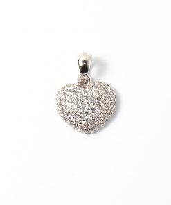 fehérarany szív medál kövekkel kirakva