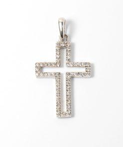 Fehérarany kereszt vallási keresztény medál cirkón kövekkel kirakva